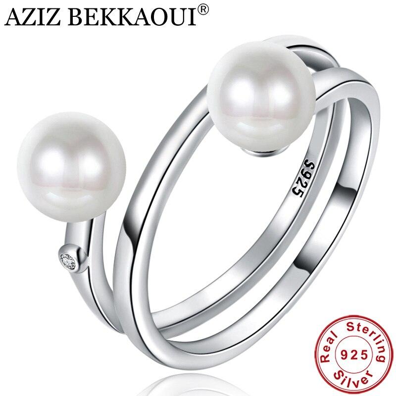 Finger-Ring Jewelry Sterling-Silver Women Clear for Gift AZIZ BEKKAOUI CZ Fresh