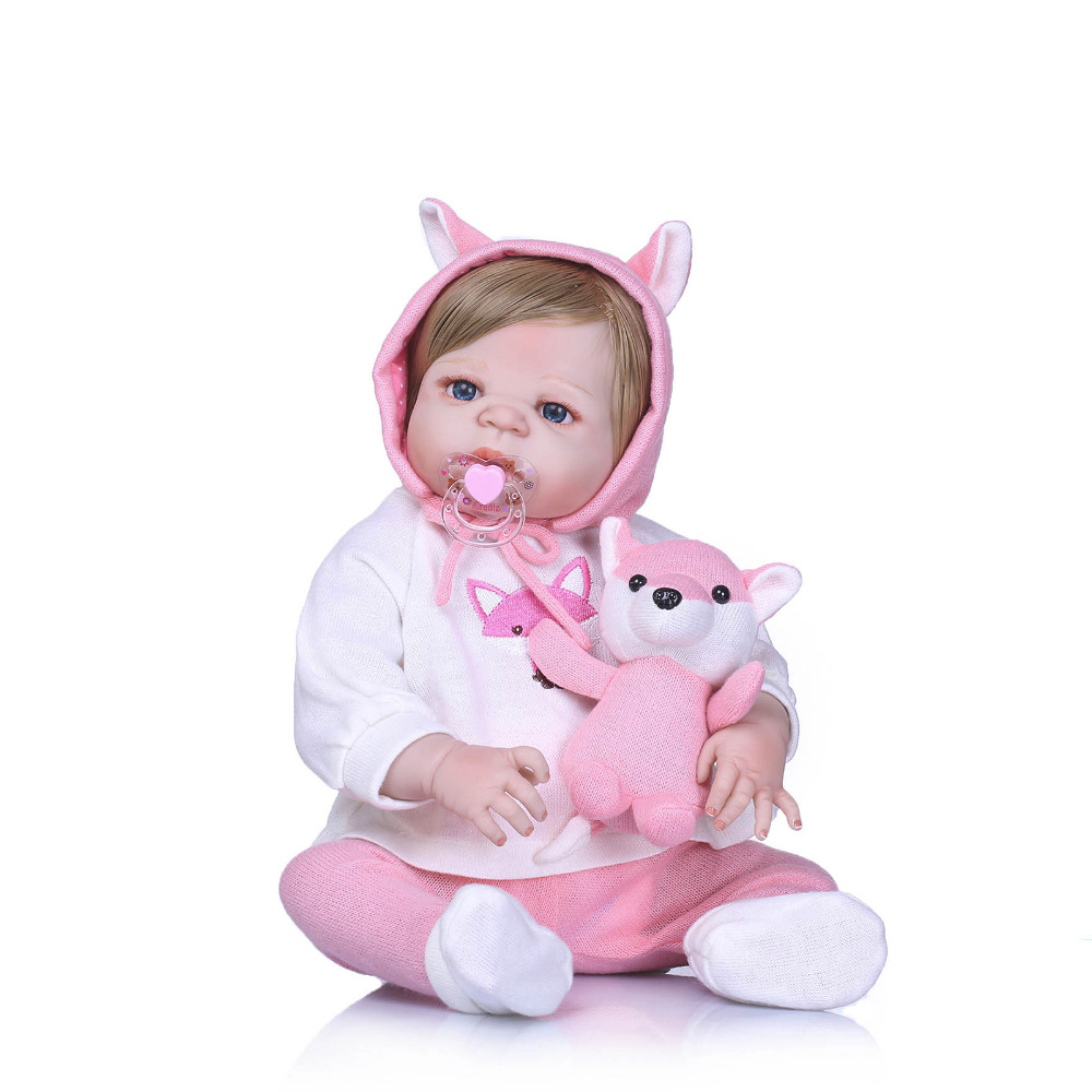 Nicery 22inch 55cm Bebe Reborn Doll Hard Silicone Boy Girl Toy Reborn Baby Doll Gift for Child Pink Fox Toy Blond Hair Baby Doll