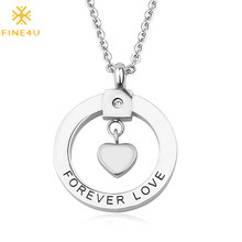 FINE4U N249 Cute Romantic Round Circle Heart Pendants Necklaces Stainless Steel Chain Necklace Forever Love Jewelry(China)