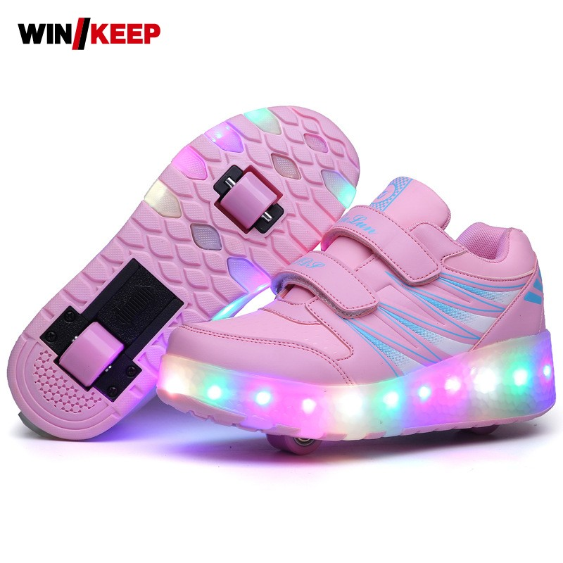 New Arrival Kids Shoes Boys Sneakers Girls LED Light Up Luminous Running Shoes For Children Wheel Sliding Shoes Free Shipping ...