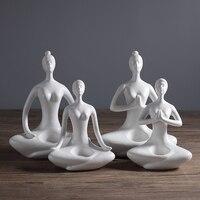 Creative blanc en céramique yoga figurine bougeoirs modernes décorations pour la maison personnalité cadeaux pour meilleurs amis