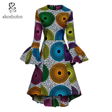 Shenbolen Women African Print Dresses Autumn and Winter Long Sleeves Ankara Dress