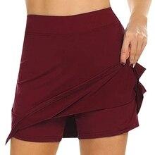Женские спортивные шорты для активного отдыха, быстросохнущая юбка для бега и тенниса с шортами, внутренняя Спортивная теннисная юбка-шорты мини-юбка