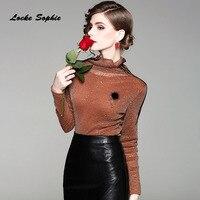 1pcs Ladies Plus Size Blouses Tops 2018 Summer Fashion Mesh Mosaic Sequins Primer Shirt Women S