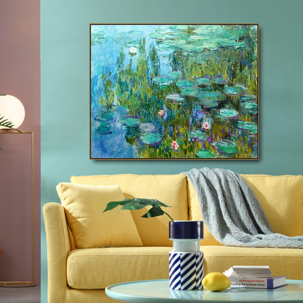 Water Lily Monet Canvas Painting Calligraphy Poster Prints Oil Painting Art Picture For Home Living Room Bedroom Wall Decoration in Painting Calligraphy from Home Garden