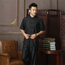 Fashion Black Chinese Men's Kung Fu Solid Tops Shirt Short Sleeve Single Breasted Tradition Tang Suit Size M L XL XXL XXXL 4XL