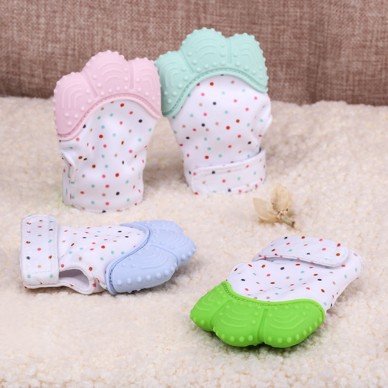 1pcs Silicone Teether Baby Care Pacifier Glove Teething Chewable Newborn Nursing Mitten Teether Beads Infant Pastel 5 Colors baby silicone teething mitten beads oyuncak baby glove teether baby newborn toys 0 12 months brinquedos para bebe