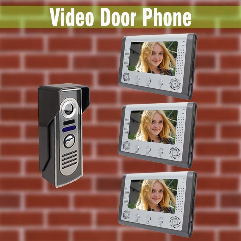7 Monitor Video Door Phone Intercom Wired System Night Vision Aluminium alloy Camera visual intercom video doorbell 3-Screen
