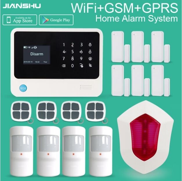 wireless  Alarm System GSM IOS/Android  APP wifi Home Alarm Security Systems + wireless alarm siren for smart home security wireless smoke fire detector for wireless for touch keypad panel wifi gsm home security burglar voice alarm system
