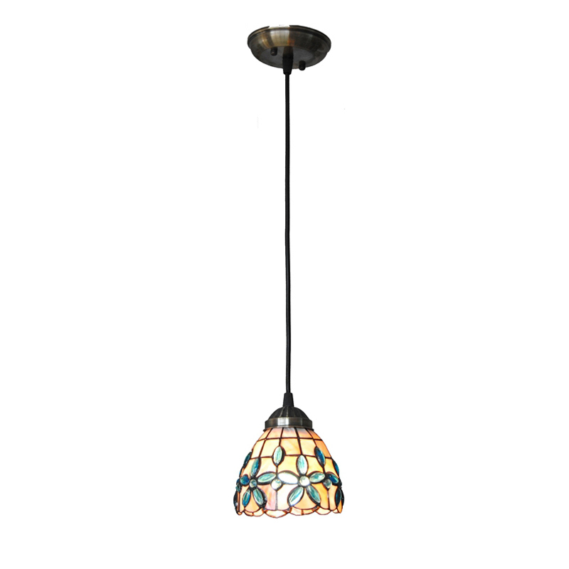 5 Inch Mediterranean Sea Style Stained Shell Pendant Lights E26/E27 Light Indoor Bar Cafe Restaurant Lighting Hanging Lamp PL754 tiffany mediterranean style natural shell pendant lights art creative stained glass night light bar balcony home lighting pl657