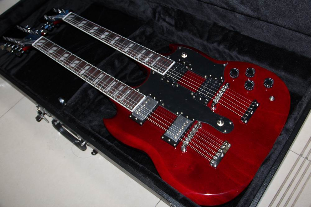 New Arrival Cnbald double neck 1275 electric guitar Chrome hardware Cherry red (price not include hardcase )121209