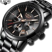 Relojes LIGE para Hombre, de lujo, de marca superior, Reloj deportivo para Hombre, informal, resistente al agua, fecha analógica, Reloj de cuarzo para Hombre