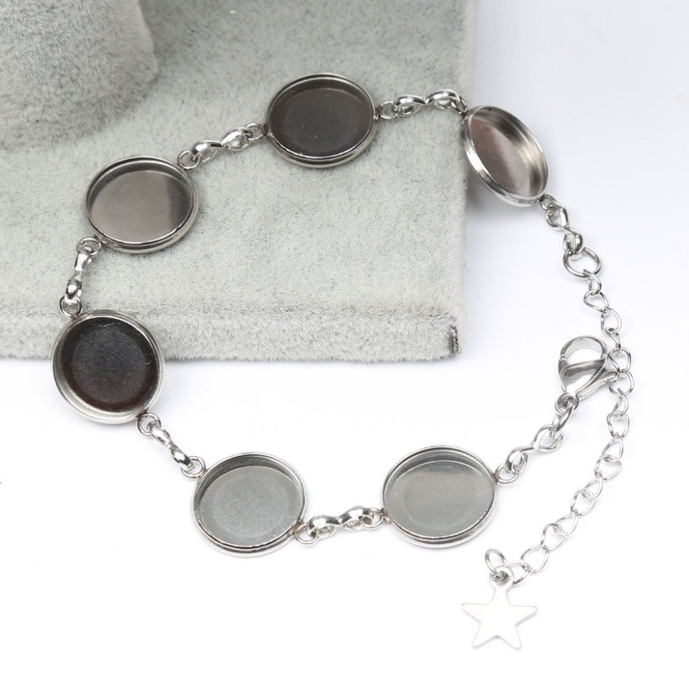 reidgaller 5pcs stainless steel cabochon bracelet settings fit 12mm cameo bracelets bezel blanks diy jewelry base basehome 10pcs lot 316l stainless steel 6 20mm inner size earring settings cabochon base fit cabochon cameo diy ear jewelry