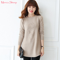 Menca Sheep New Arrival Sweaters Women 100% Pure Cashmere Knitting Pullovers Long and Loose Knitwear Ladies Oneck Jumpers Tops