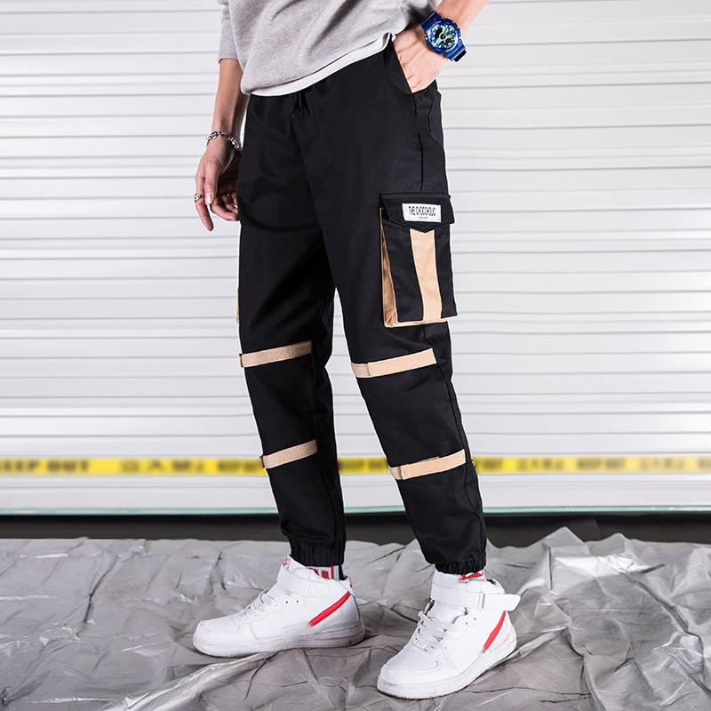 Trousers Harem Pants Pockets Male Joggers Streetwear HIPHOP Casual Fashion with Men's