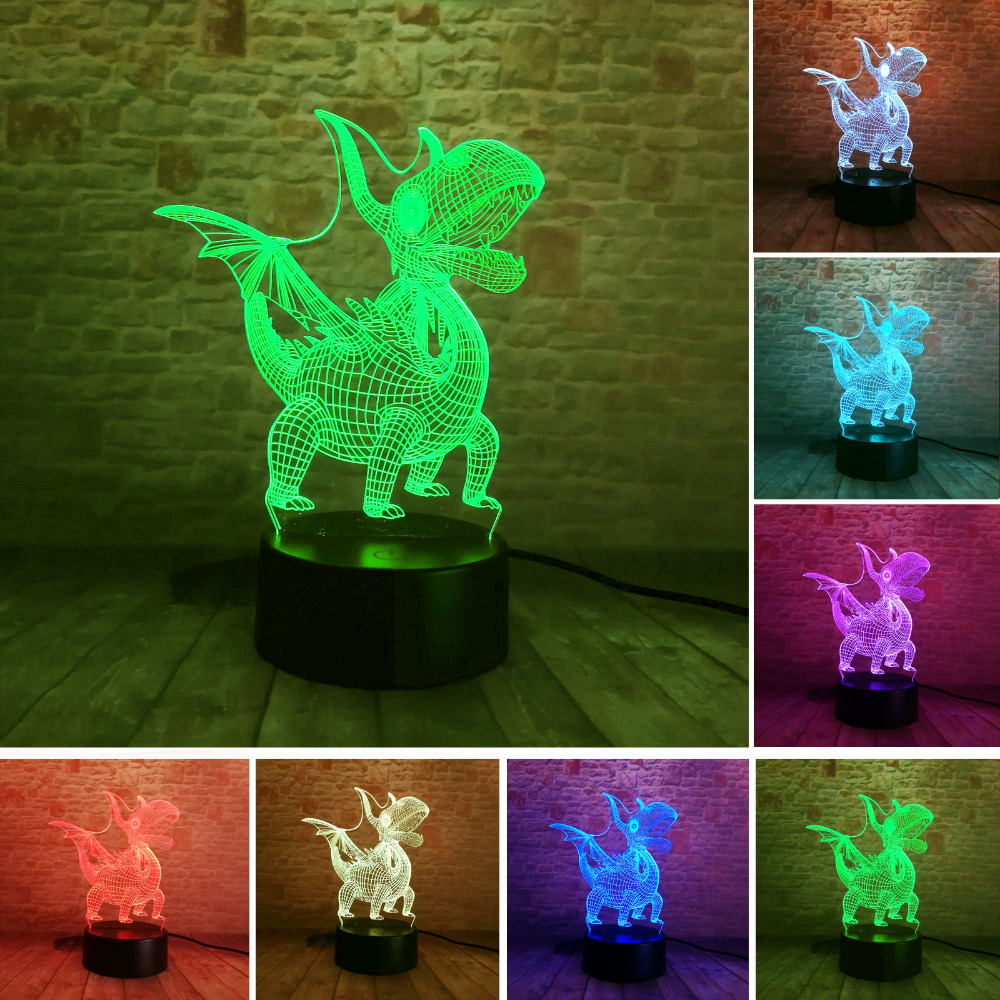 Pterosaur Dinosaur 3D Illusion Led Lamp 7 Color Led Bulb Decor Night Light USB Touch Sleeping Table Lamp Child Kids Baby Gift 7 color touch lotus 3d colorful night light strange stereoscopic visual illusion lamp led lamp decor light as flower arrangement