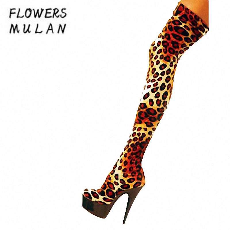 Fashion T Show Long Boots Women Over The Knee Leopard Stretch Fabric Sock Boots 15CM Platform Sexy Nightclub Party Botas Woman glisten silver crystals jumpsuit long sleeves stretch pearl outfit female singer ds nightclub women s party wear sexy bodysuits