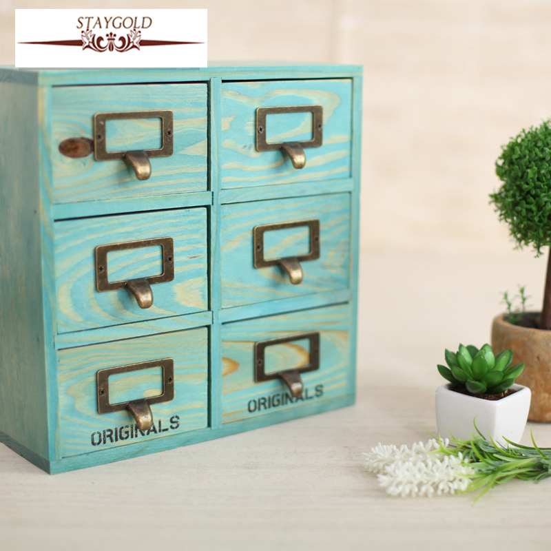 Staygold Zakka Drawer Desk Bo Six Grid Drawer Container Wood Craft Almacenamiento Storage Box For Toys Home Decor