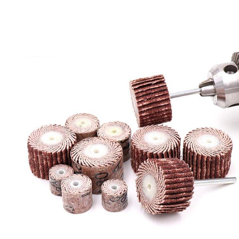10pcs 10-20mm Sandpaper Sanding Flap Polishing Wheels 3mm Shank Woodworking Sanding Disc Rotary Tool Dremel Accessories