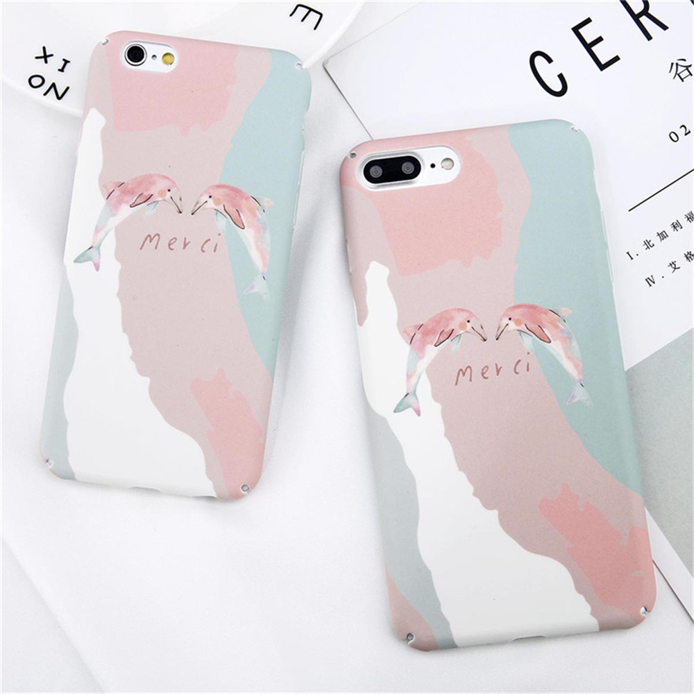 Cute Cartoon Rabbit Phone Iphone X 8 7 6 6S Plus Letter Gradient Dolphin Hard Matte Back Cover Cases