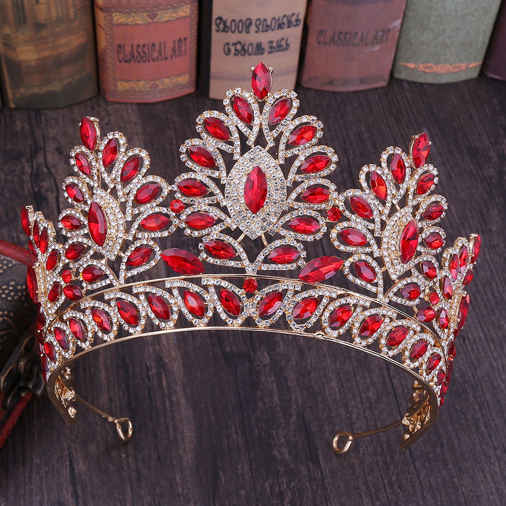 Image 4 - KMVEXO 2019 New Vintage Baroque Tiara Crowns Queen King Bride Pink Crystal Crown Pageant Bridal Wedding Hair Jewelry Accessories-in Hair Jewelry from Jewelry & Accessories