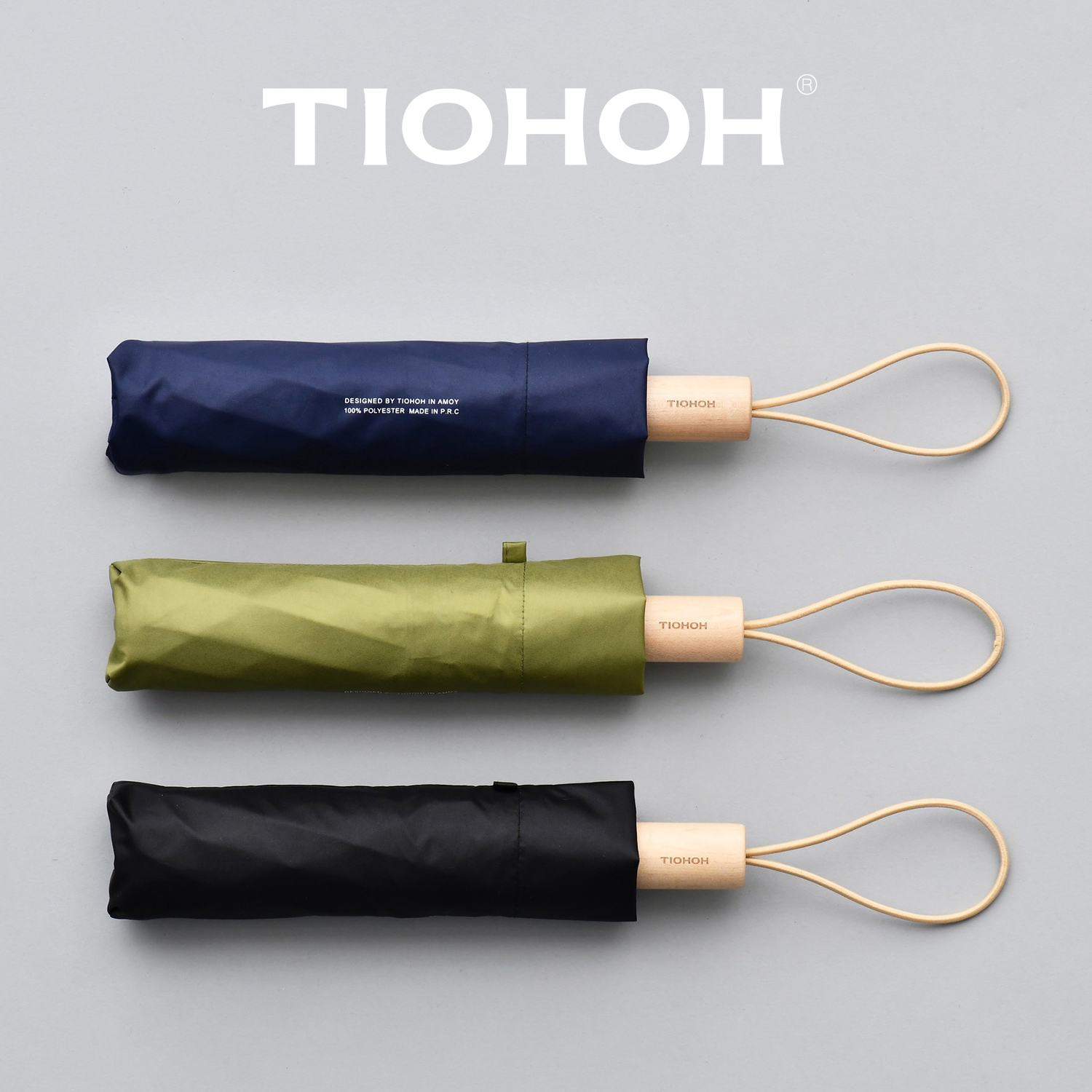 Tiohoh Sun Protection Umbrella Women Men Maple Handle Telfon Pongee Cloth Sunshade Folding Umbrellas Rain Paraguas Sunscreen
