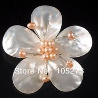 New Arriver 4 20mm White color Shell MOP & Pink Freshwater Pearl Flower Pin Brooch Pendant 65mm Handcrafted Fashion Jewelry