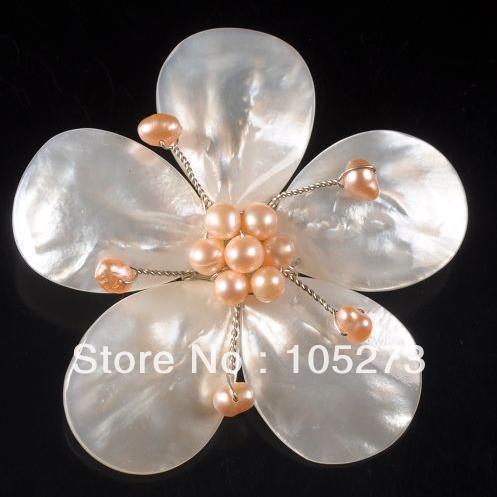 Nova Arriver 4 - 20 mm branco Shell cor MOP & rosa pérola de água doce flor Pin broche pingente 65 mm artesanais bijuterias
