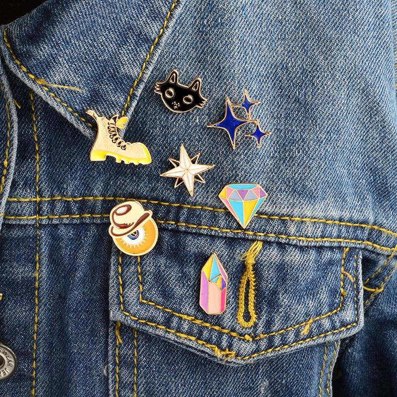7pcs/set Cartoon Enamel Brooch set Blue stars Rhinestone Black cat Eye Shoes Pins Buckle Badge Jewelry Clothing Bag Accessories