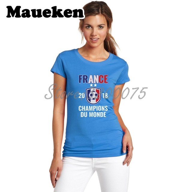 Us 18 88 France 2018 World Champions Du Monde Pogba Mbappe Griezmann Women T Shirt Lady Clothes O Neck Tee T Shirt Girl W18071201 In T Shirts From