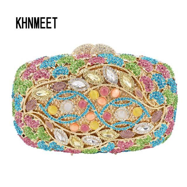 74563500c Moda piedras preciosas multicolor rama noche Crystal rhinestone mujeres  embrague partido bolso Fiesta del embrague bolso
