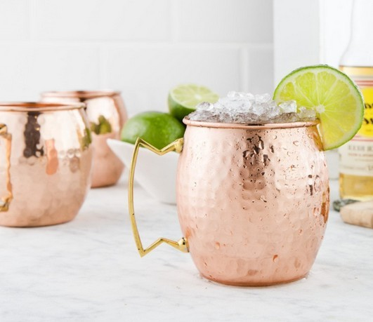 Hammered Moscow Mule Mug Drum-copper mug- Beer Cup-copper plated on FDA level stainless steel-copper mug-Rose gold Drinkware