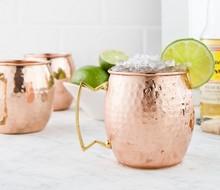 Gehämmert Moscow Mule Becher Trommel-kupfer becher-Bier Tasse-kupfer überzogen auf FDA ebene edelstahl-kupfer becher-Rose gold Drink