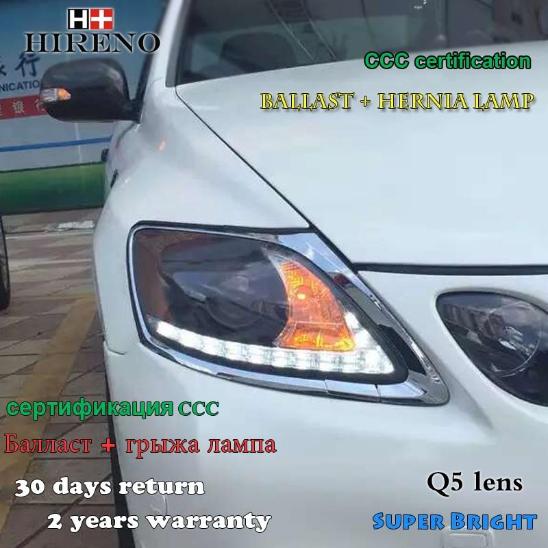 Hireno Headlamp for 2006-2012 Lexus GS350 GS300 Headlight Assembly LED DRL Angel Lens Double Beam HID Xenon 2pcs