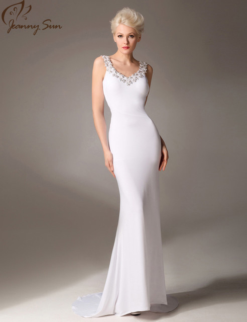 Jeanny Sun White Evening Dresses with Crystals Appliques V Neck ...