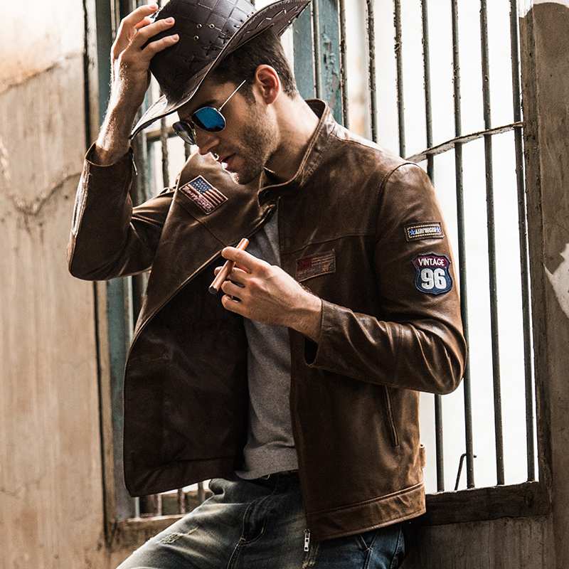 2016 Men's Real Leather Jacket Pigskin Motorcycle Genuine Leather Jacket Men Pig Leather Coat Air Force Jacket