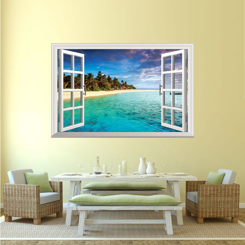 Natuur thema 3D Venster Tropische Oceaan Strand Muursticker art ...
