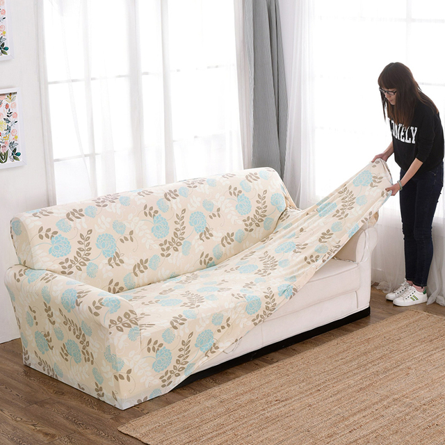 Natural Simple Style Tight Wrap Sofa Cover Big Elasticity Loveseat Cover  Anti Skid Washable L