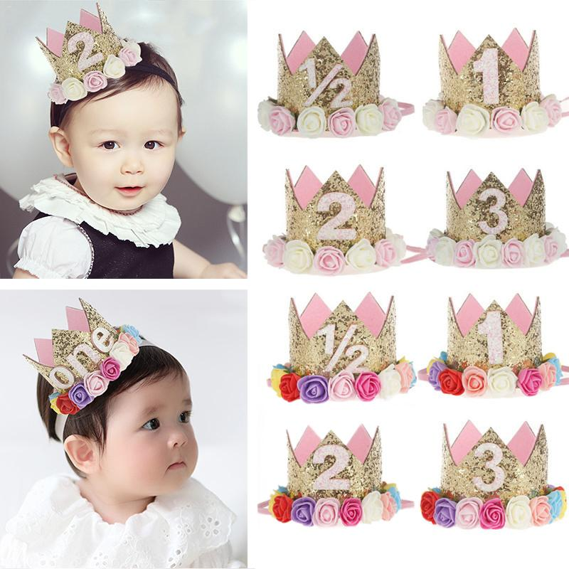 Baby girl Flower Type Crown Headband Kids Gifts Birthday Party Performing   Headwear   Festival Princess style Hat Hair Accessory