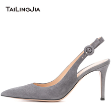 цена Pointed Toe High Heel Slingbacks Women Grey Elegant Heeled Pumps Red Evening Dress Shoes Ladies Summer Party Heels Big Size 2018 онлайн в 2017 году