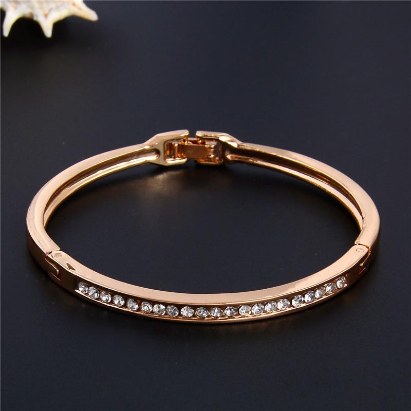 SHUANGR Fashion Rose Gold Color Jewelry Austrian Crystal Classic Lady's Closed Bangle Bracelets, Women's Bracelet 9