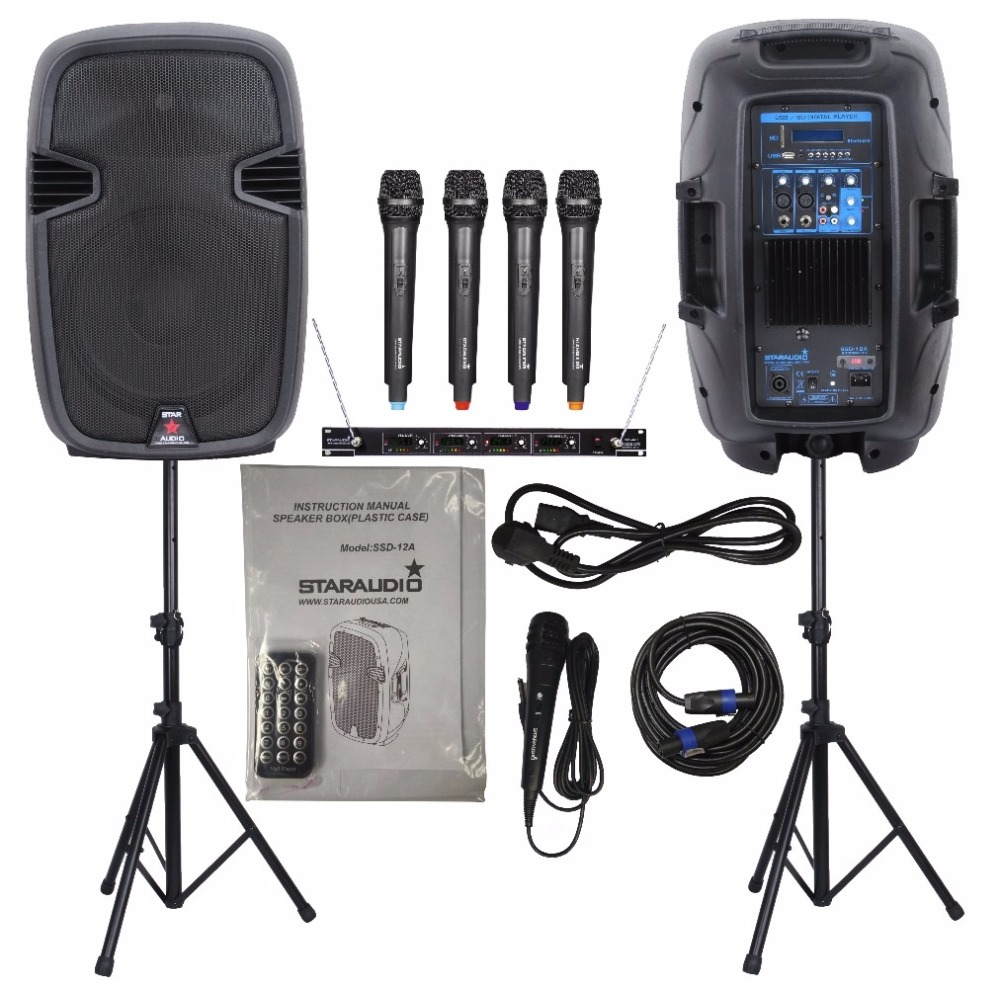 STARAUDIO 1 Set  2000W 12 Pro PA DJ Power Active Speakers  W/2 Speaker Stands 4CH VHF Microphone System SSD-12A ss series speaker stands