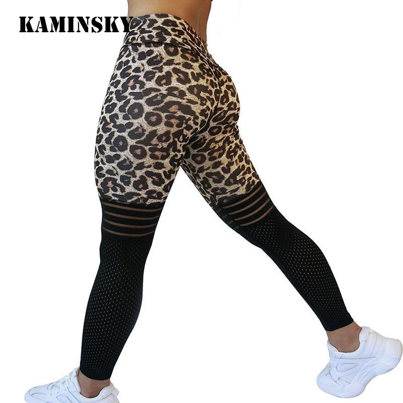 Kaminsky Leggings Women Leopard Leggings Push Up Sports Jeggings Female Sexy Mesh High Waist Leggings Fitness Workout Jeggings