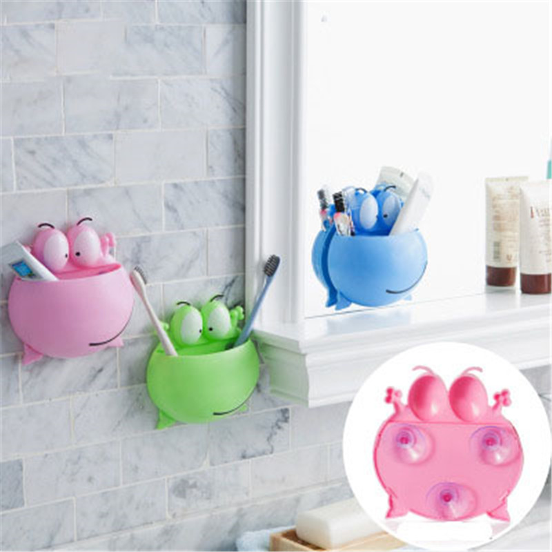 1PCs Creative cute cartoon big eye frog toothbrush toothpaste holder Multi-function self adhesive Home bathroom organizer image