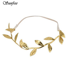 Sunfree  Bronzing Leaves Women Headband Elastics For Girl Hair Head Band Fashion Cloth Romantic Leaves Oct 24n