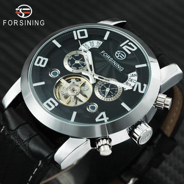 FORSINING שעון גברים 2019 למעלה מותג יוקרה זכר מפורסם שעון אוטומטי מכאני לוח שנה תאריך Tourbillon יד שעונים עבור גברים