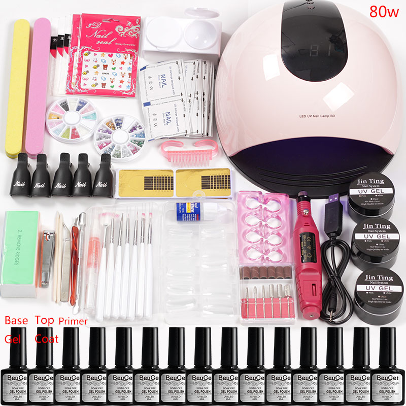 Nail Art Tools Led Nail Lamp Manicure Machine Set for Extensions Kit Builder Gel Varnish Nail Polish Manicure Tools Equipment-in Sets & Kits from Beauty & Health