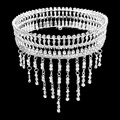 Grande de lujo Barroco Borla Nupcial Coronas de Cristal Strass Tiara Novia Tocado Pelo de la Boda Accesorios HG0076
