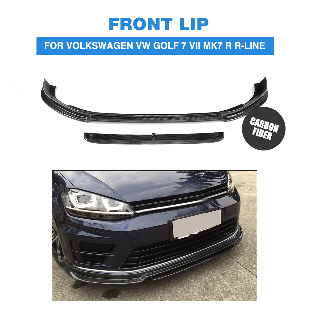 2PCS/Set Carbon Fiber Front Bumper Lip Spoiler Chin for Volkswagen VW GOLF 7 VII MK7 R R-LINE Hatchback 2014-2016