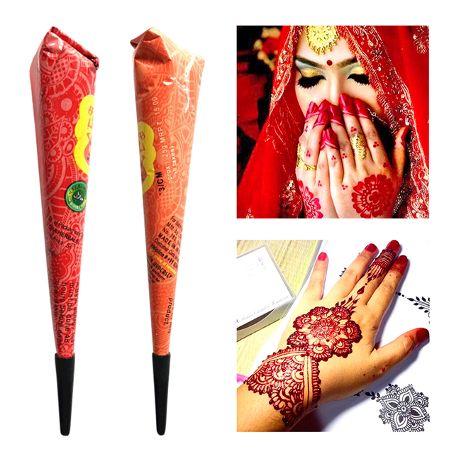 Drop Ship Indian Henna Paste Temporary Tattoo Waterproof Body Paint hena Art Cream Cone For Stencil Mehndi Body Art TSLM2